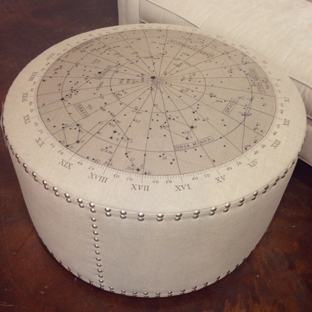 The stars have aligned- this spacey ottoman is a perfectly smart update for any room. And a great conversation starter. #stars #space #ottoman #home #decor #lovely #design #laurieshomefurnishings