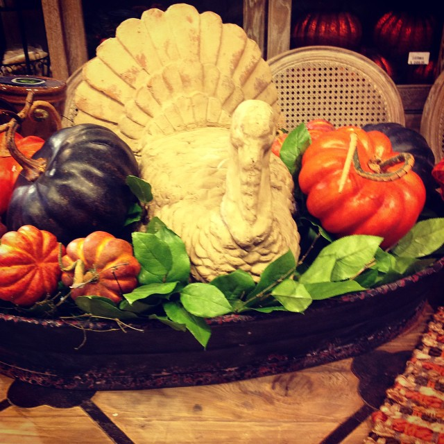 Isn't this Fall-tastic for your dining table center piece? #fall #turkey #comeandgetit #laurieshomefurnishings #welovethistimeofyear