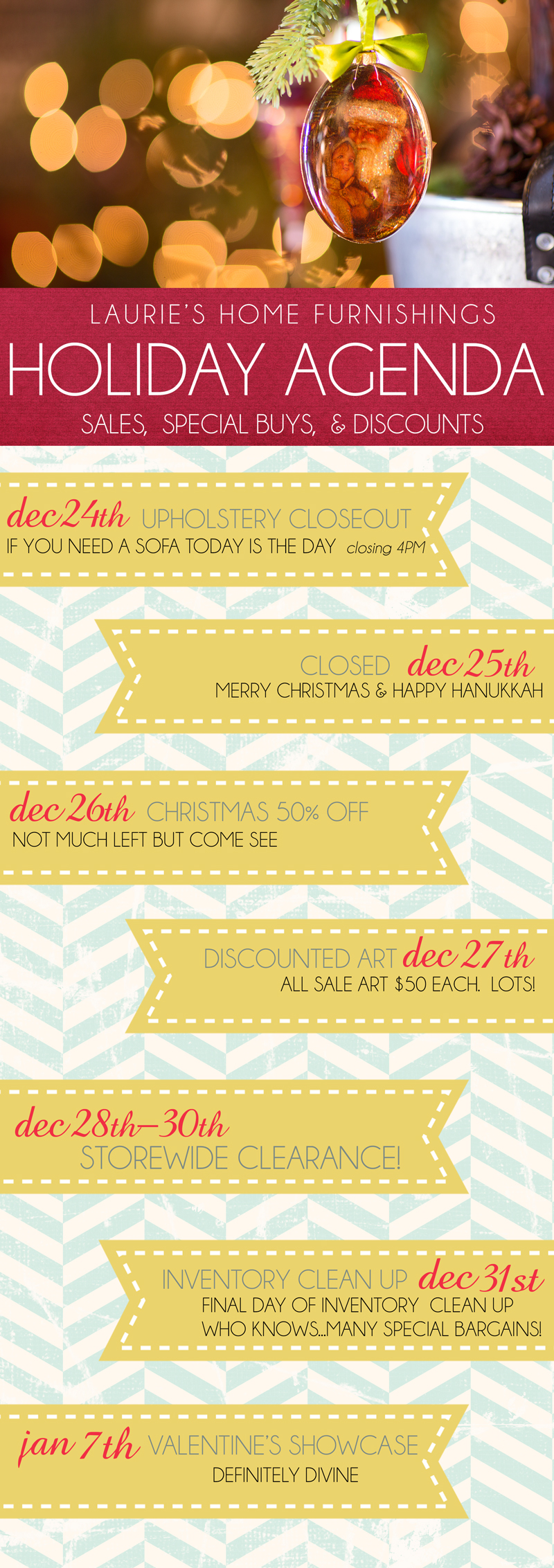 Lauries Holiday Agenda